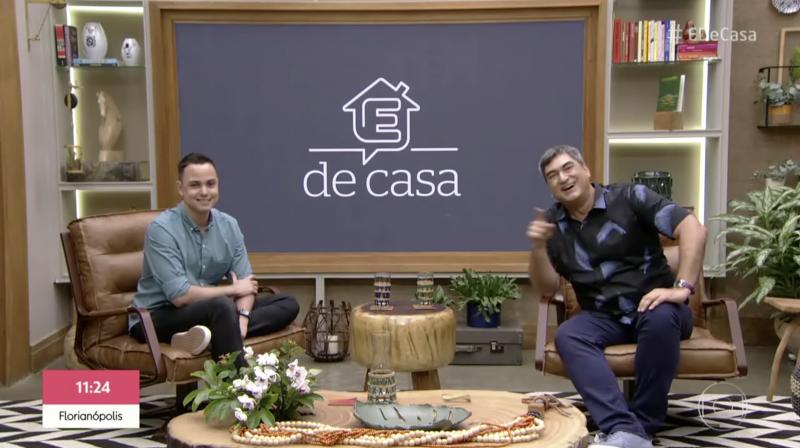Thássius Veloso e Zeca Camargo no É de Casa, da Globo